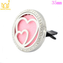 Crystal Couble Heart Car Perfume Locket 316L Stainless Steel Round Shape Magnetics Amoratherapy Diffuser Lockets Free Pad