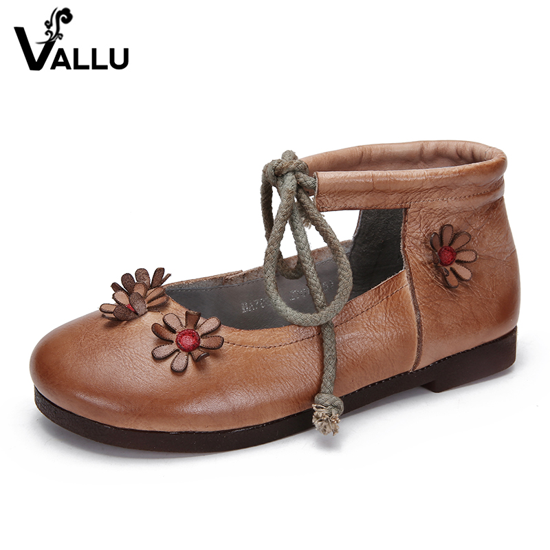 2018 VALLU Leather Shoes Women Ballet Flats Round Toes Handmade Flower Round Toes Lace Up Cow Leather Women Flat Shoes vallu spring summer women flats genuine leather pointed toes handmade original shoes basic women ballerina slip on flat shoes