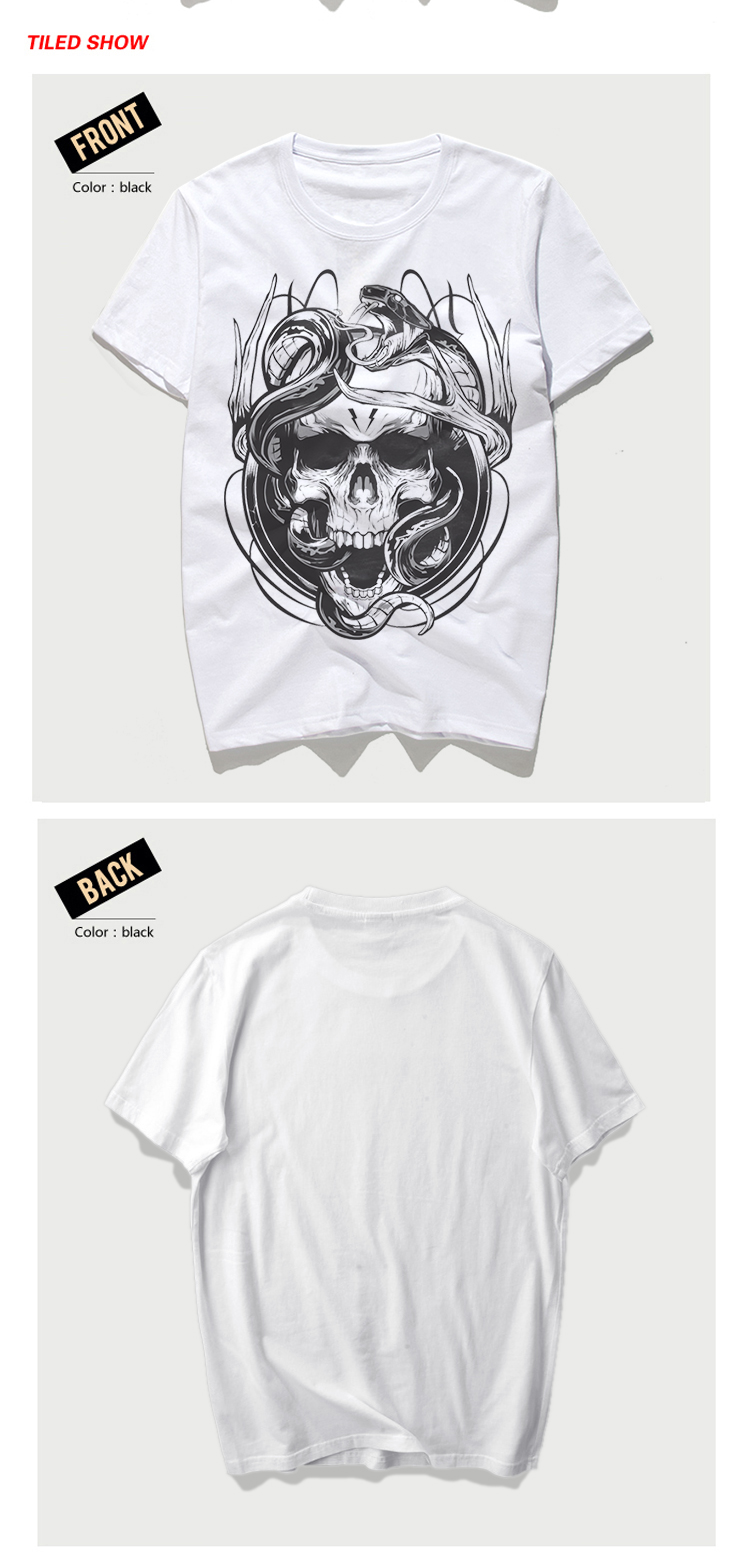 Rocksir 2017 Summer New Mens Creative-printed Skull T-Shirt Man Casual Slim Fit Short-Sleeve Swag Men Clothes Tee Shirts