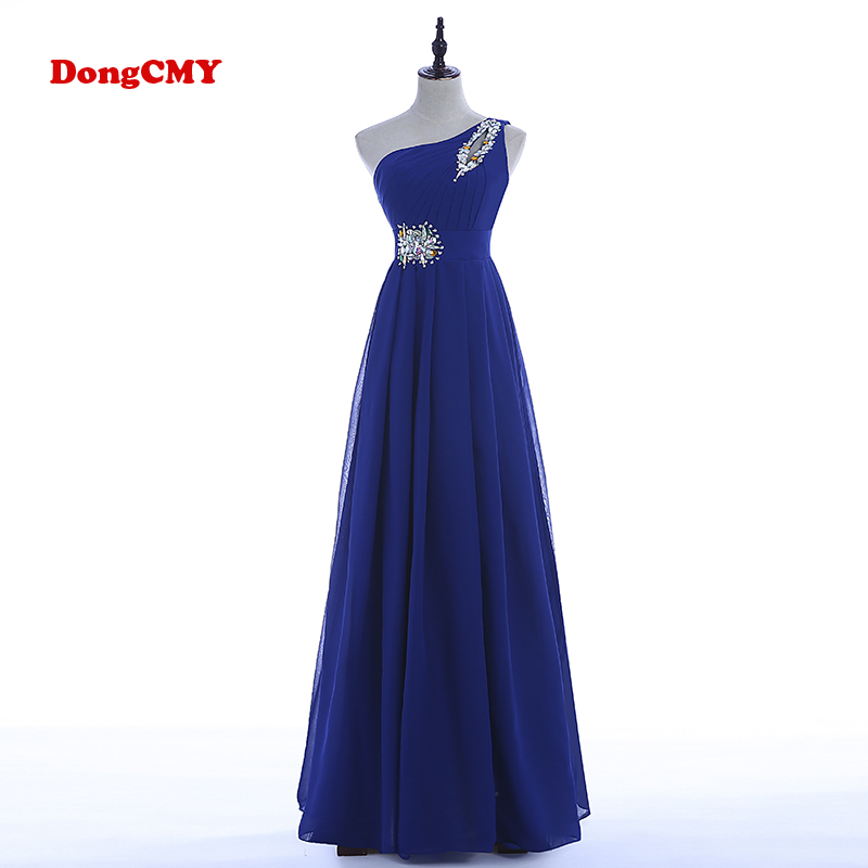 DongCMY Robe De Soire CG1020 langformet kveldskjoler Party One Shoulder Chiffon Lace-up Plus størrelse Vestido De Festa