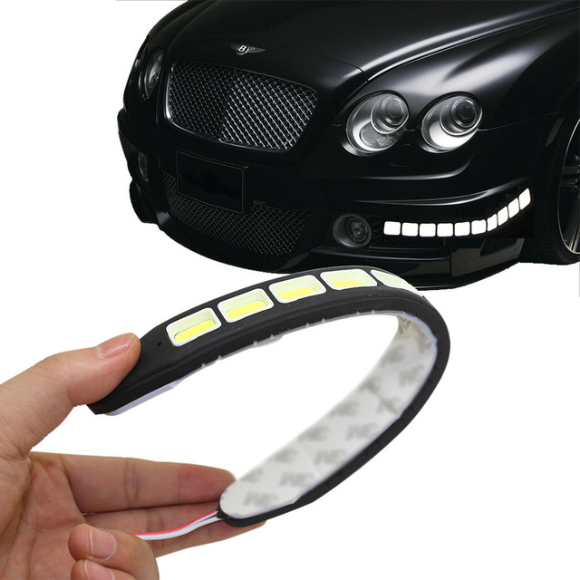 2pcs Square 21cm Bendable Led Daytime Running Light 100% Waterproof COB Day Time Lights Flexible LED Car DRL Driving Lamp G