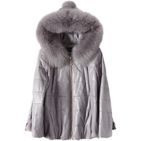 YOLANFAIRY 100% Real Sheepskin Coat Women's Genuine Leather Jacket Hooded Down jackets Outwear Winter jaqueta de couro MF073
