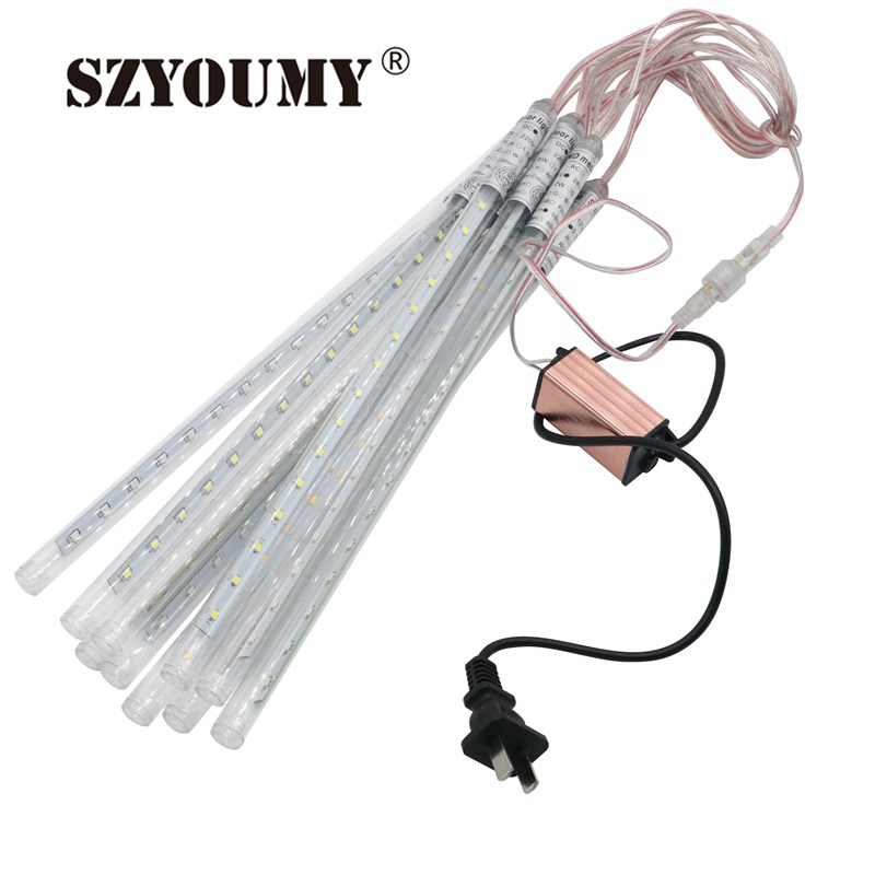 szyoumy new 30cm meteor shower rain tubes christmas lights led lamp dc12v outdoor holiday light new year decoration