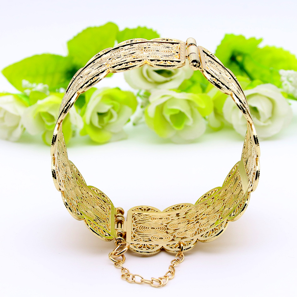 Exquisite Arab Women Armlet Plus Size Bangle Bracelet Flower Gold Color Cuff Bangles Jewelry Dance Party Ethnic India In From