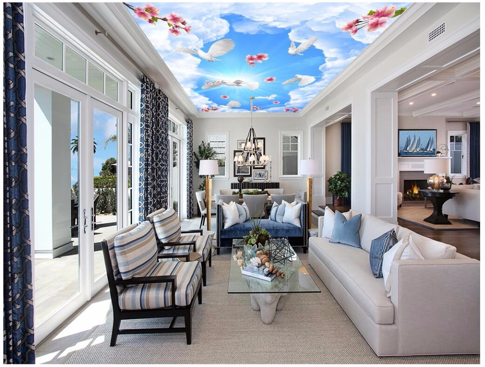 Custom photo 3d ceiling murals wallpaper Blue sky flower pigeon home decor living room 3d wall murals wallpaper for walls 3 d custom 3d ceiling wallpaper beautiful sky maple murals for the living room bedroom ceiling wall waterproof wallpaper