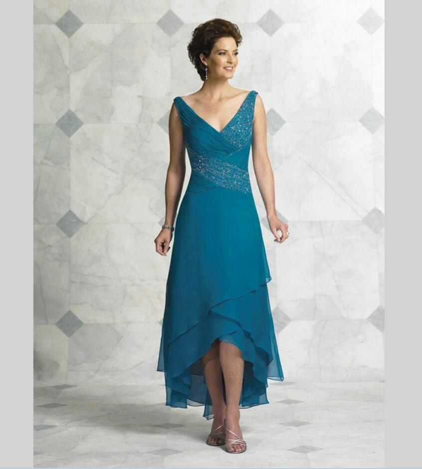 Popular Mother of The Bride Dresses Tea Length Blue-Buy Cheap ...