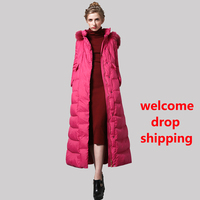 DF Space Cotton Long Coat Women Winter Red Parka Plus Size X Long Jacket Warm Fashion Outwear with Fur Cap SS6411