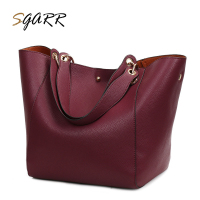 SGARR Red Black Grey Brown Women Big Tote Handbag Fashion Large Female Purse Ladies Party Hasp Soft Leather Wine Shoulder Bags