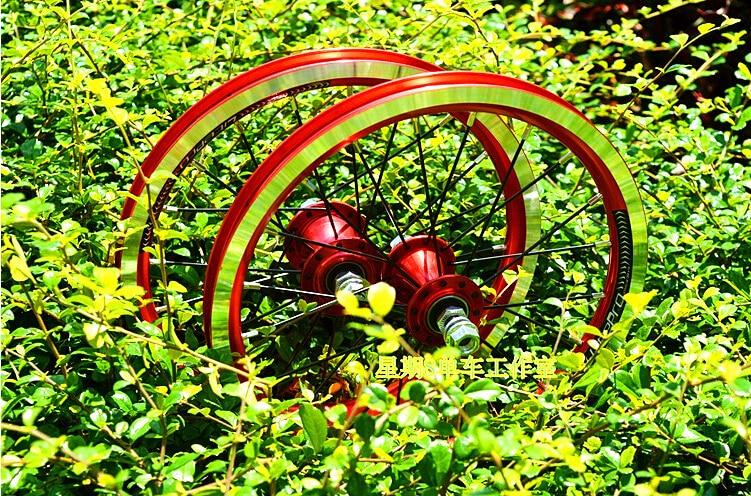 LITEPRO aluminium 4 moyeu de roulement 9 T vitesse unique 14 pouces ensemble de roues de vélo pliant