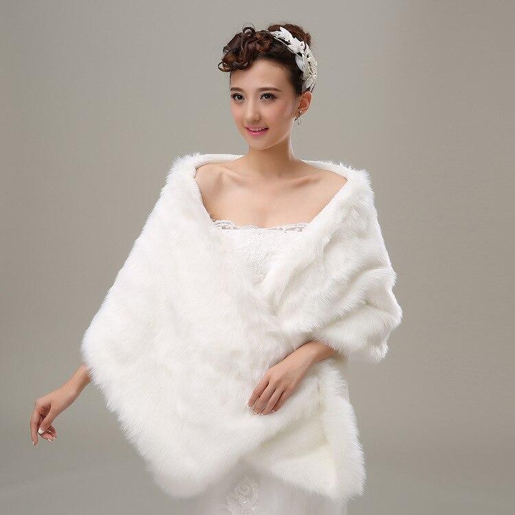 CHENLVXIE White Fur Wrap Shrug Bolero Bridal Shawl Wedding