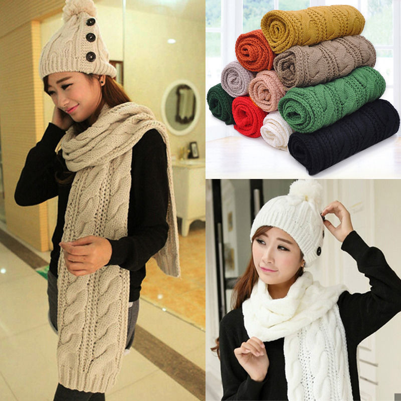 Hot Sell Stylish Autumn Style Women Men Unisex Winter Warm Braided Knit Wool Long Solid Twist   Scarf     Wrap   Shawl   Scarves
