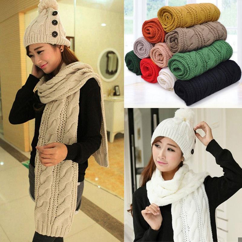 Hot Sell Stylish Autumn Style Women Men Unisex Winter Warm Braided Knit Wool Long Solid Twist Scarf Wrap Shawl Scarves