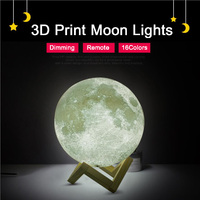 Rechargeable 3D Print Moon Lamp 16 Color Change Remote Control Bedroom Bookcase Night Light Home Decor