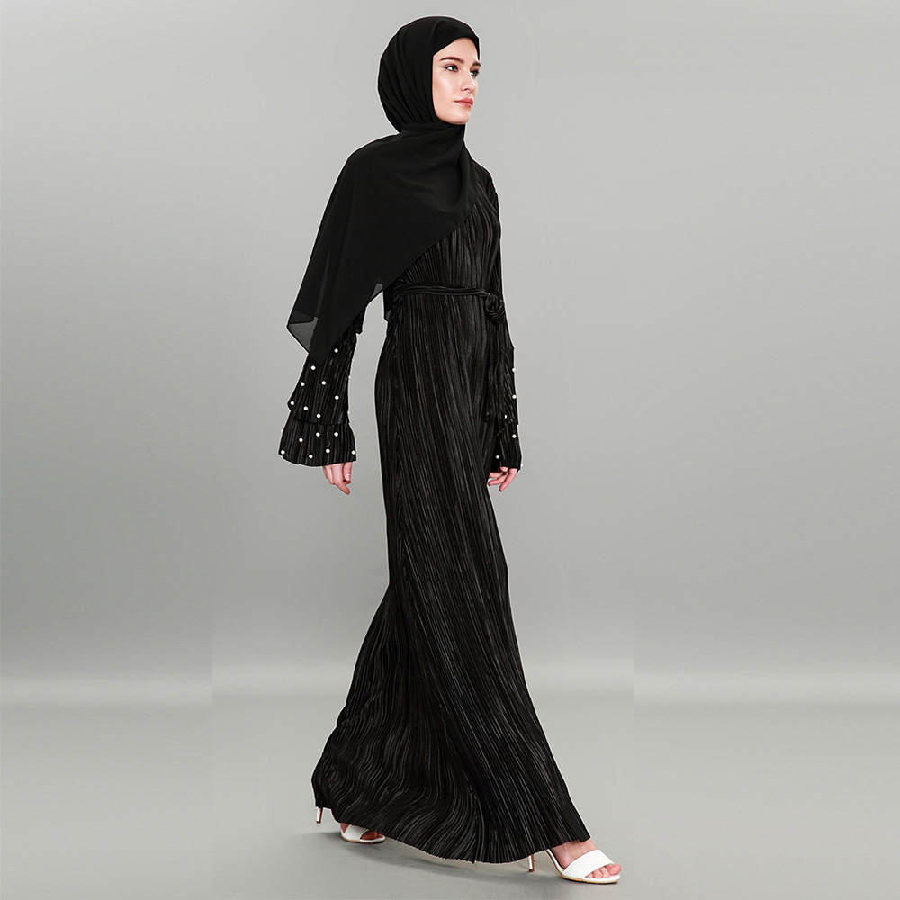 e38fdd6e51397 Black and Pink Pleated Dubai Abaya Kimono Cardigan Beads Muslim Dresses Plus  Size Maxi Dress Soft Long Womens Clothing-in Dresses from Women s Clothing  on ...
