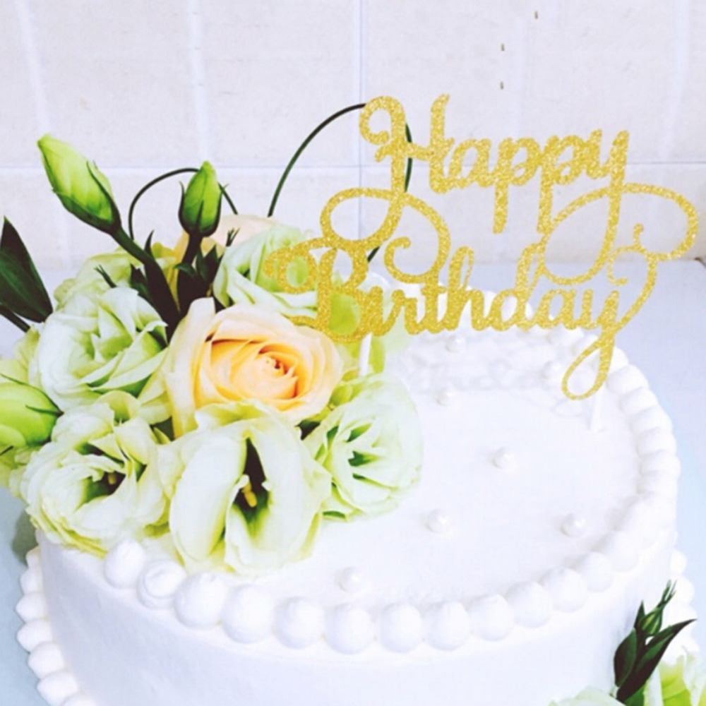 Gold Happy Birthday Cake Topper Topo De Bolo Wedding Cake Stand