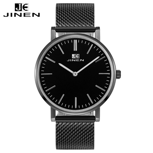 JINEN Men Fashion Stainless Steel Band Watch Thin Case Casual Classic Luxury Business Waterproof Analog Quartz Wristwatches iw 8758g 3 men s and women s quartz watch fabric classic canterbury stainless steel watch with multi color striped band