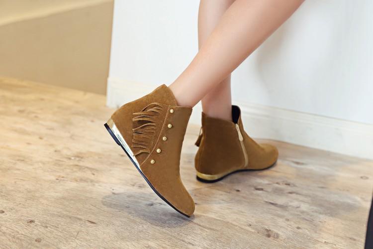 126b6dee84 Moda Ankle Curto Botas Femininas tamanho grande 34 43 Inverno da Pele  Quente Zip Tassel Botas Mulheres Sapatos Bota Plataforma Dedo Do Pé Redondo  Vermelho ...