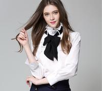 OL Для женщин Блузки для малышек sipaiya Мода весна 2017 Белый Черный с длинным рукавом Женские офисные Для женщин Рубашки для мальчиков Топы корр