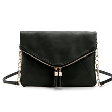 2018 new fashion solid tassel shoulder bag chain handbags vintage messenger women bag high quality casual crossbody bags brand