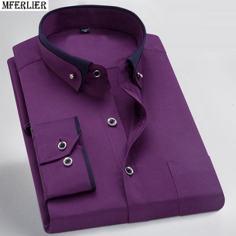 Image 4 - men dress shirt formal long sleeve large size big 7XL 8XL patchwork wedding shirts Pink navy blue 9XL 10XL 12XL blouse purple-in Casual Shirts from Men's Clothing