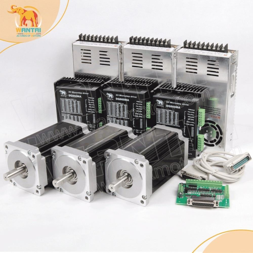 ¡Envío gratis! Wantai 3 eje Nema 34 paso a paso Motor WT86STH118-6004A 1232oz-in + conductor DQ860MA 80 V 7.8A 80 V 256 Micro corte CNC y grabar