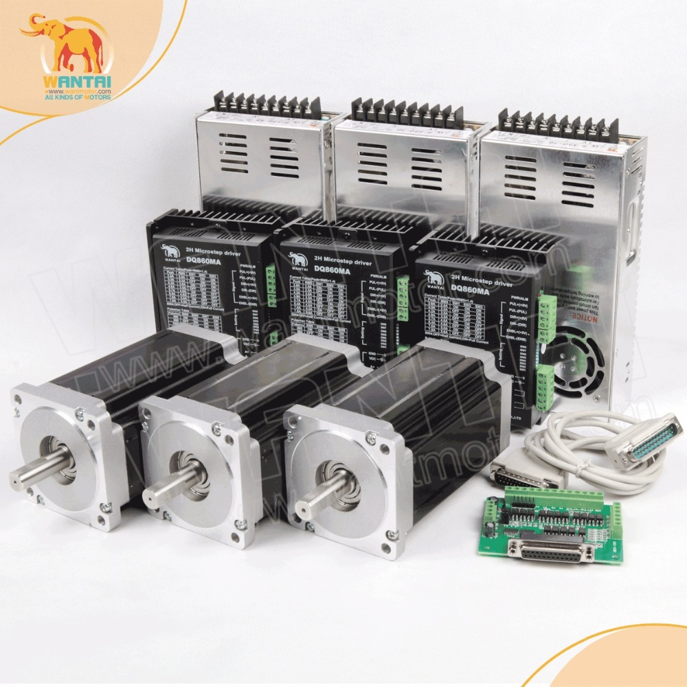 Envío Gratis! Wantai 3 eje NEMA 34 Motores paso a paso wt86sth118-6004a 1232oz-in + conductor dq860ma 80 V 7.8a 80 V 256 micro CNC corte y grabado