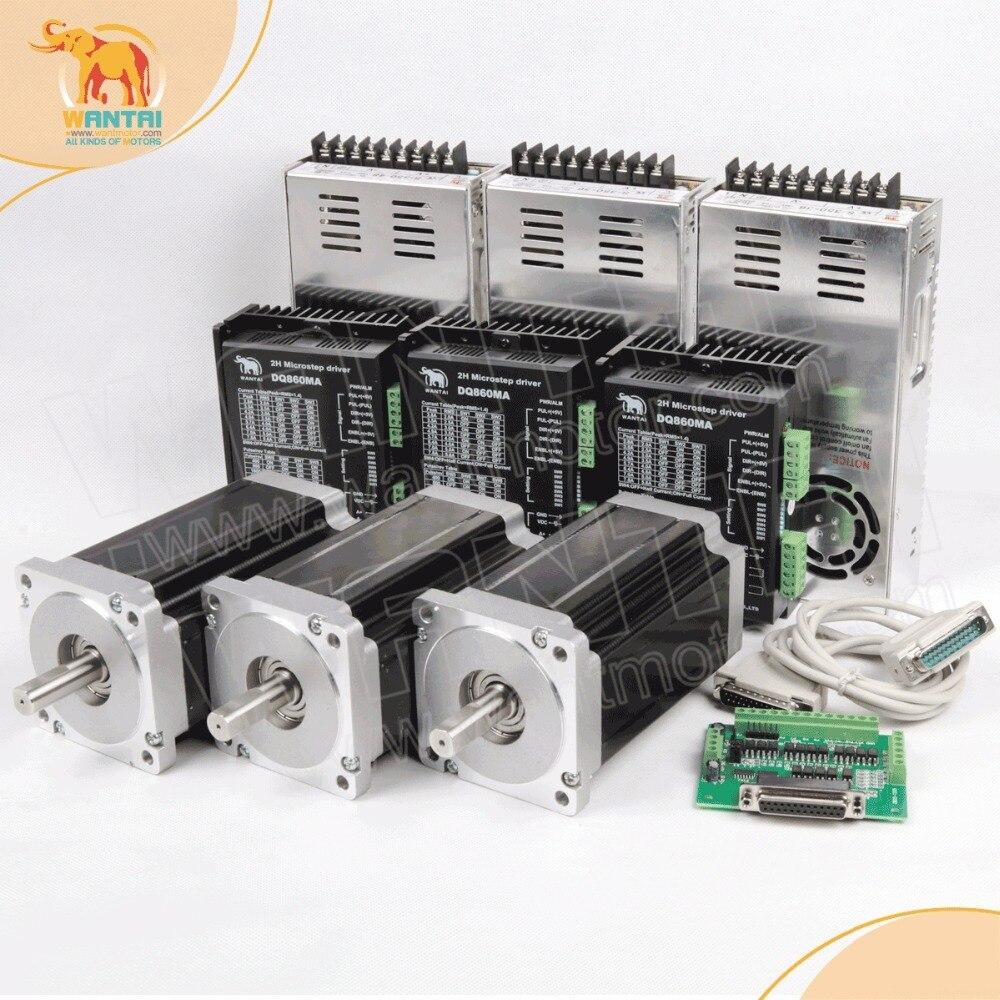Freies schiff! Wantai 3 Achsen Nema 34 Schrittmotor wt86sth118-6004a + Treiber DQ860MA 80 V 7.8A 80 V 256 Micro CNC Cut & Gravieren