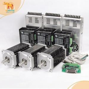 Image 1 - Gratis schip! Wantai 3 Axis Nema 34 Stappenmotor WT86STH118 6004A 1232oz in + Driver DQ860MA 80V 7.8A 80V 256Micro CNC cut & Graveren