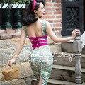 FRETE GRÁTIS Le Palais Vindima 2016 Verão Nova Chegada Sexy Backless Praça Neck Mangas Cintura Alta Magro Vestido Floral Mulheres