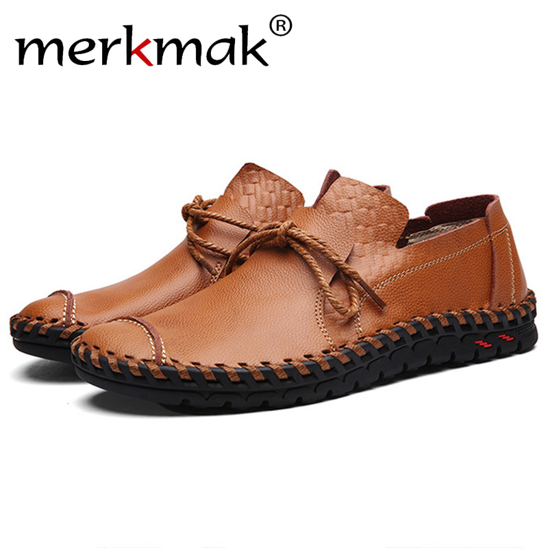 Merkmak British Style Casual Men Loafers Shoes Spring Autumn Genuine Leather Slip On Men's Flats Footwear Plus Size 38-48 Shoes mens casual leather shoes hot sale spring autumn men fashion slip on genuine leather shoes man low top light flats sapatos hot