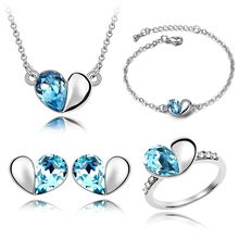 Наборы ювелирных изделий из кристаллов милые Подвески в виде сердца ожерелья серьги-гвоздики, кольцо и браслет браслеты с серебряным покрытием для женщин