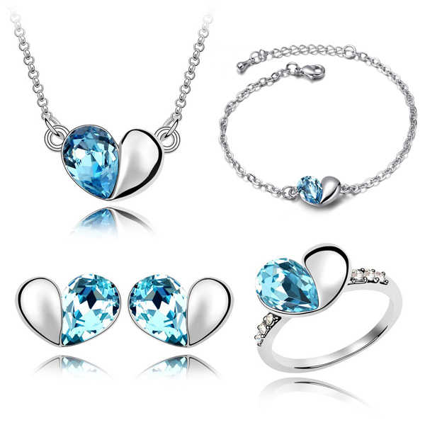Wholesale Crystal Jewelry Sets Cute Heart Pendants Necklaces Stud Earring, Ring And Bracelet Bangles Silver Plated For Women