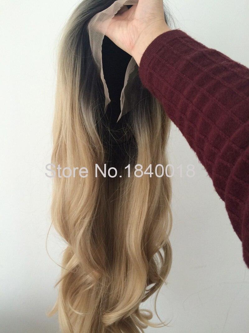 sylvia blandad blond ombre lång kroppsvåg syntetisk spets främre - Syntetiskt hår - Foto 5