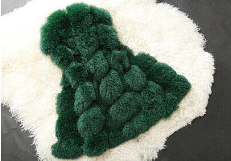 Высококачественная меховая жилетка, роскошное пальто из искусственного лисьего меха, теплое Женское пальто, жилетки, Зимняя мода, меховые женские пальто, куртка, жилетка, жилет, 4XL - Цвет: green