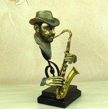 Reminiscent Pub Saxophone Player Bust Handmade Resin Street Musician Sculpture Ornament Craft for Home Decor and Souvenir Gift
