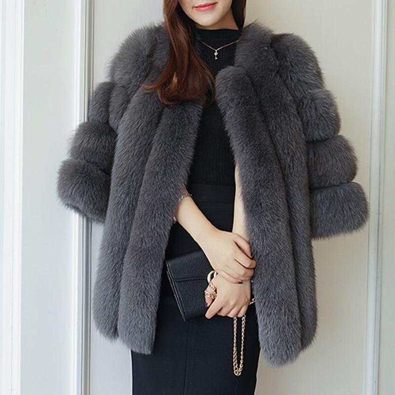 Winter Fur Coat 2018 New Imitation Fox Fur Grass Stitching Sleeve Coat Korean Slim Faux Fur Hot Women