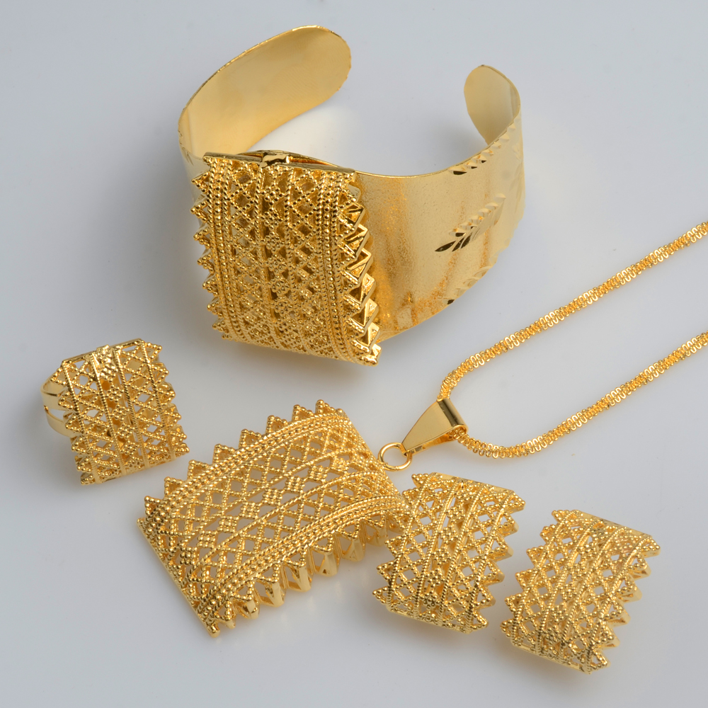 Earrings Jewelry-Sets Necklaces Habesha Ethiopian Eritrean Pendant Wedding-Gifts New