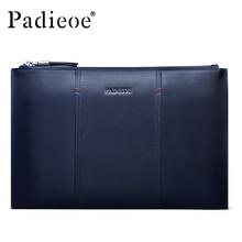 Padieoe Business Men Clutch Large Capacity Purse High Quality Genuine Leather Handbag Famous Brand Mens Cowhide Wallet Free Ship