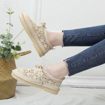 цена на COOTELILI Flat Shoes Woman Causal Oxfords Hollow Lace up Round toe Breathable Feminino Women Shoes White Flats Beige
