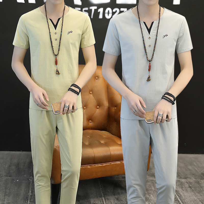 Summer Flax T-shirt Men's Handsome Short-sleeved Cotton And Flax Suit Trend Chinese Style Loose Korean Suit Tang Suit