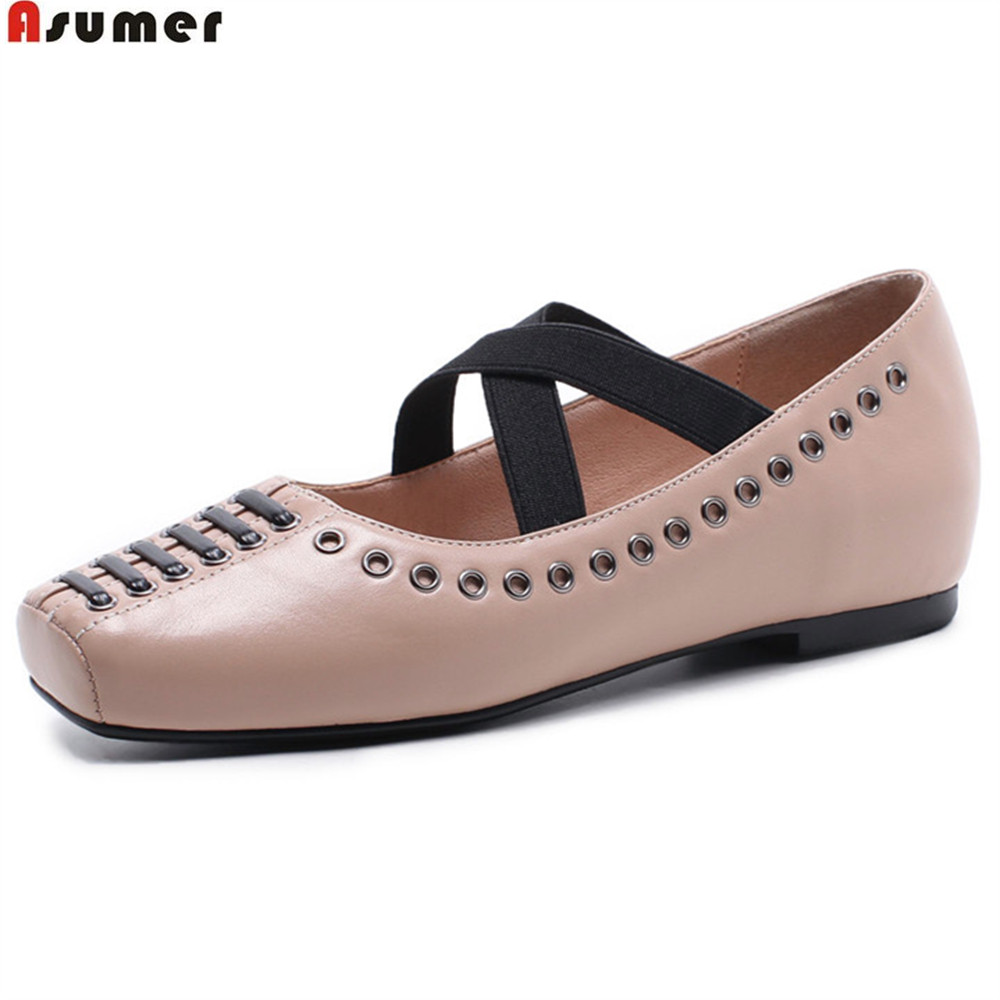 ASUMER fashion square toe casual women shoes elegant genuine leather flats shoes black pink ladies spring autumn single shoes asumer black fashion spring autumn ladies shoes round toe lace up casual women flock cow leather shoes flats