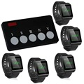 SINGCALL Wireless Bank KTV Hotel Calling System for Calling Waiter to Pick Dish,5 Watches with 1 Button