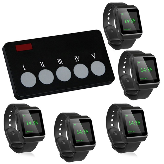 Singcall banco ktv hotel de sistema de chamada sem fio garçom para chamar a escolha do prato, 5 relógios com 1 botão