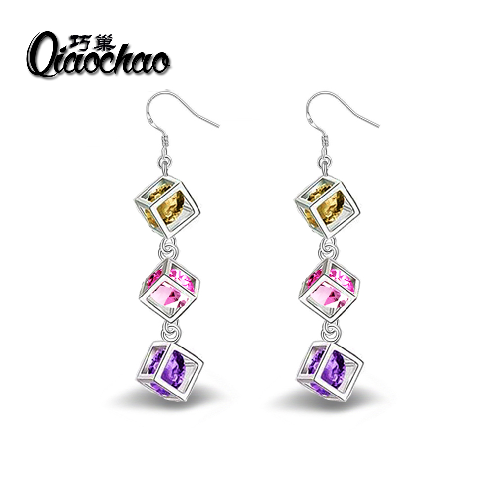 Luxury Colorful Heart Band Real Pure 925 Sterling Silver Jewelry Cubic Zirconia Stone Earrings Fashion Women Favourites E27