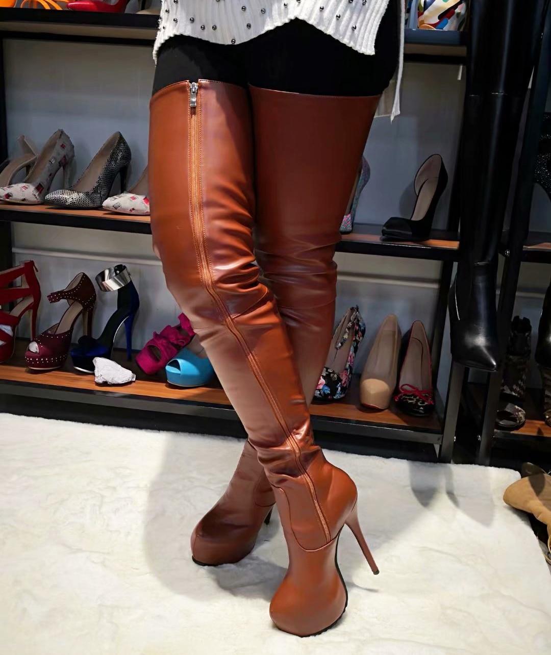 ffdd8ce5356 Details about SUPER Women Thigh High Boots Platform High Heels Boots Shoes  Women BIG Size 4-20
