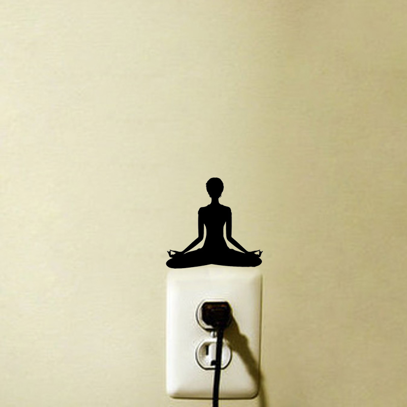 Yoga Meditation Vinyl Light Switch Sticker Home Wall Decal 5WS1018