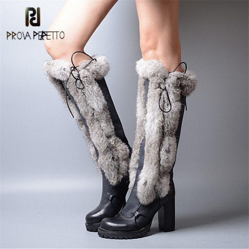 Prova Perfetto 2017 Winter Warm Snow Boots Rabbit Fur High Heel Platform Botas Mujer Genuine Leather Lace Up Knee High Boots