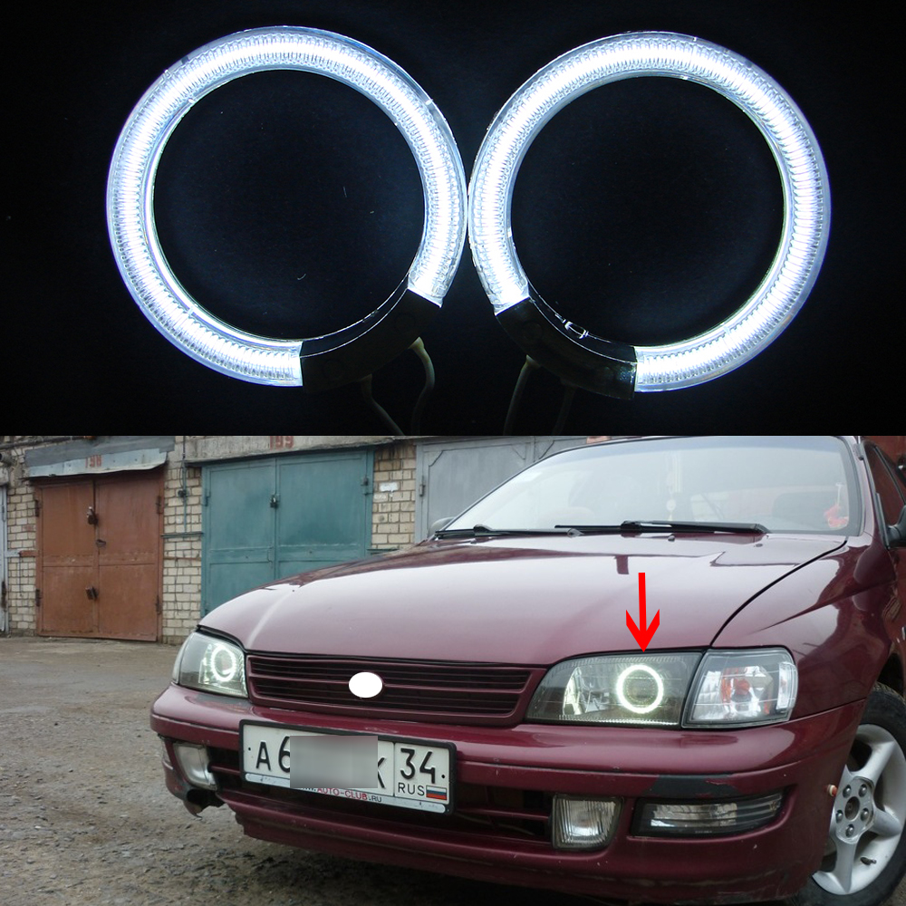 2pcs/pair Ccfl Angel Eyes kit White 6000k Ccfl Halo Rings Headlight for toyota carina e 1994 12V Car Parking Light source hochitech white 6000k ccfl headlight halo angel demon eyes kit angel eyes light for vw volkswagen golf 5 mk5 2003 2009