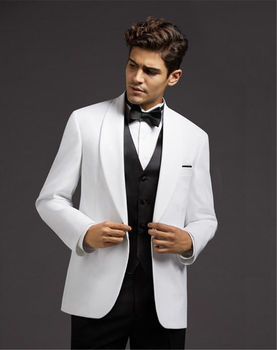HOT White Jacket Men's Wedding Suits Black Vest Pants Groomsman Tuxedo Custom C254