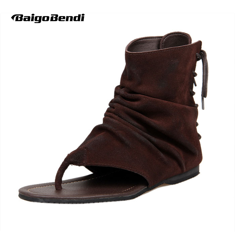 Vintage Herr Äkta Läder Roman Style T-Band Flip Flop Gladiator Sandaler Snörning Summer Sandaler